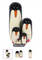 HAND PAINTED PRETTY PENGUINS WOODEN ORNAMENT